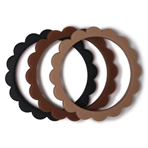 Mushie Flower Bracelet 3-Pack Black/Caramel/Natural