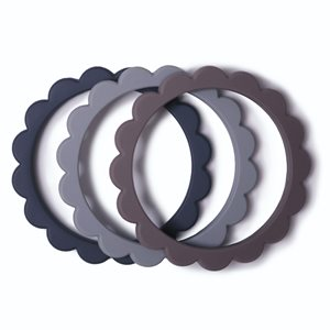 Mushie Flower Bracelet 3-Pack Dove Gray/Steel/Stone